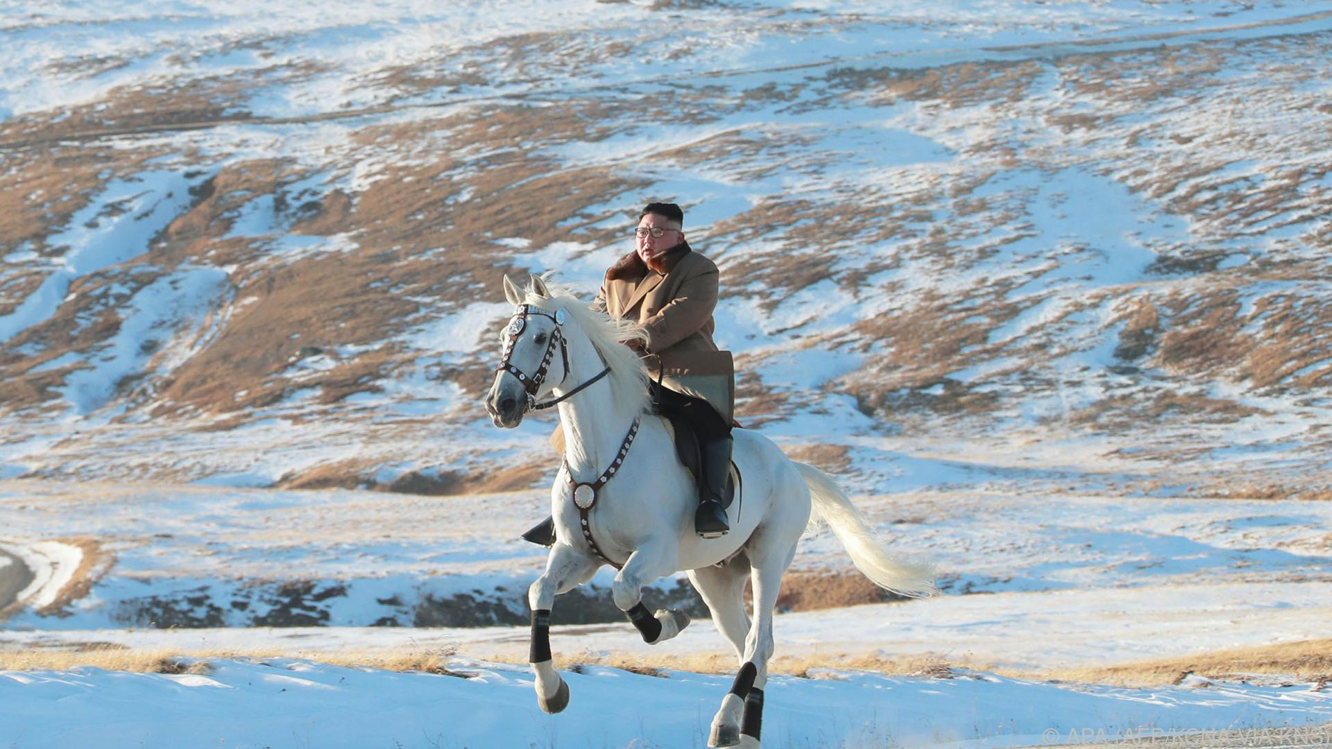 Kim Jong-un hoch zu Ross auf dem höchsten Berg von Nordkorea